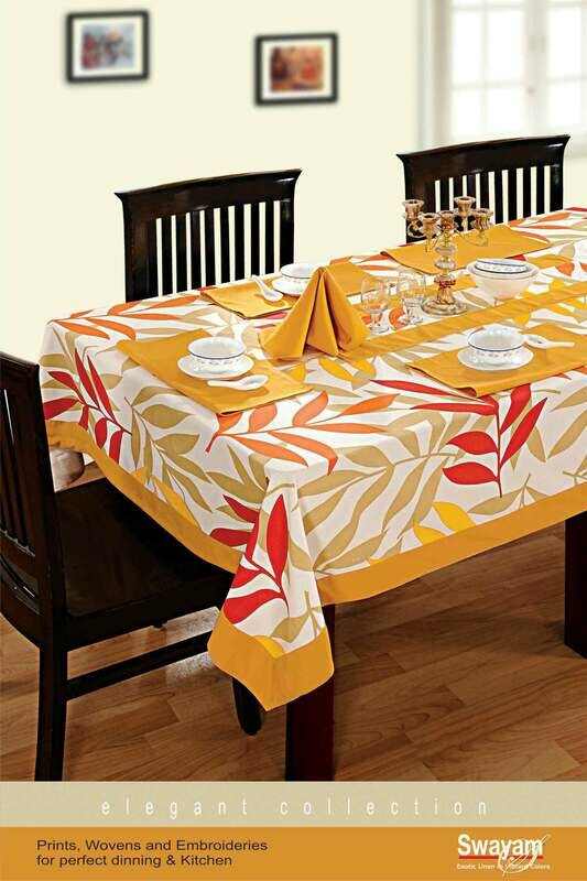 SWAYAM Yellow Colour Printed 4 Seater Flat Table Cover