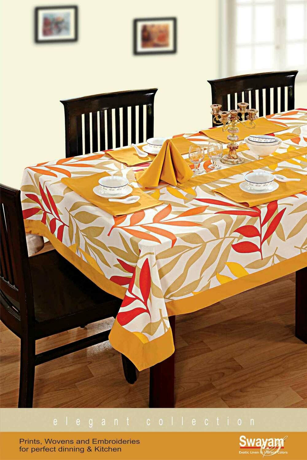 SWAYAM Yellow Colour Printed 6 seater Flat Table Cover