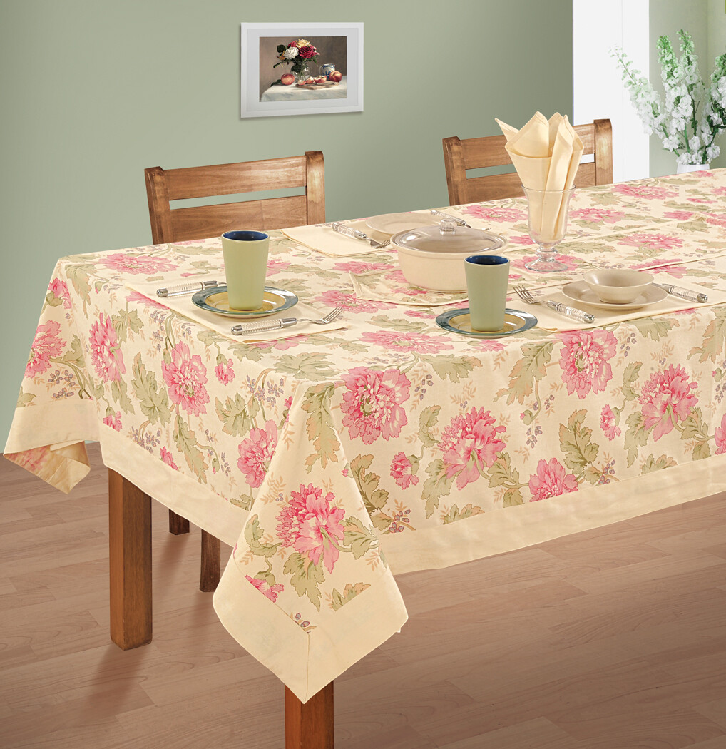 SWAYAM Cream Colour Printed 4 seater Flat Table Cover