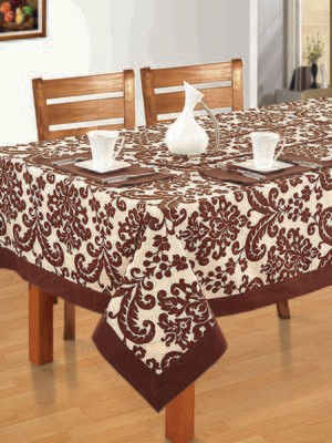 SWAYAM Brown Colour Printed 6 seater Flat Table Cover