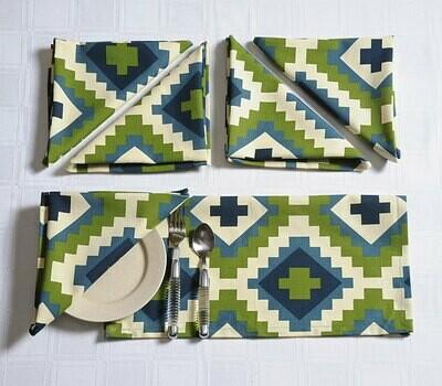 SWAYAM Green Colour Dinner Table Napkin Set
