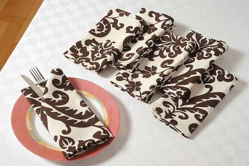 SWAYAM Brown Colour Dinner Table Napkin Set