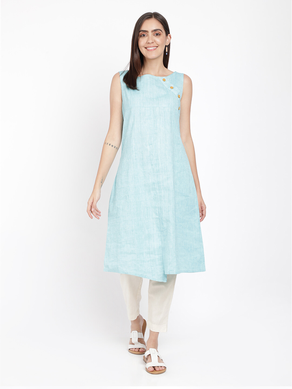 IndusDiva Blue Sleeveless Khadi Kurta Dress