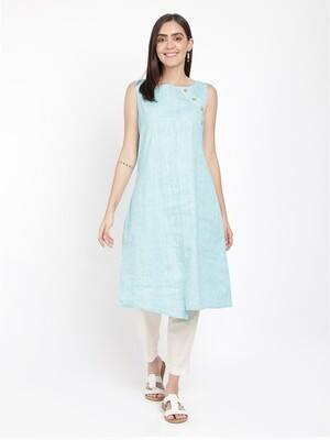 IndusDiva Blue Sleeveless Khadi Kurta Dress