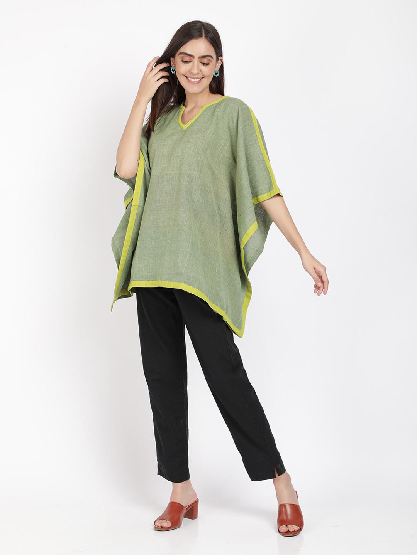 IndusDiva Olive Green Khadi Kimono Top