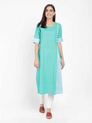 IndusDiva Green A Line Pleated Khadi Kurta