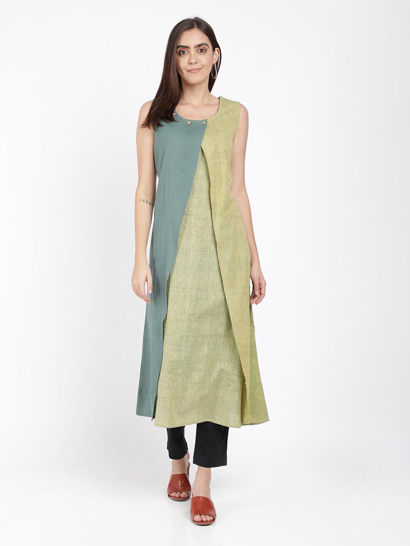 IndusDiva Green  And Grey Paneled A-Line Color Block Khadi Kurta