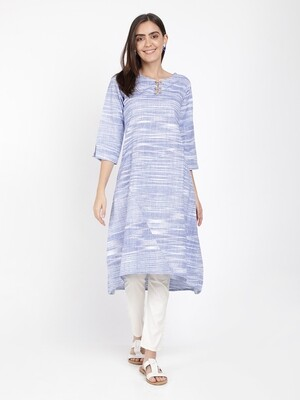 IndusDiva Blue Khadi Kurta With Wooden Buttons