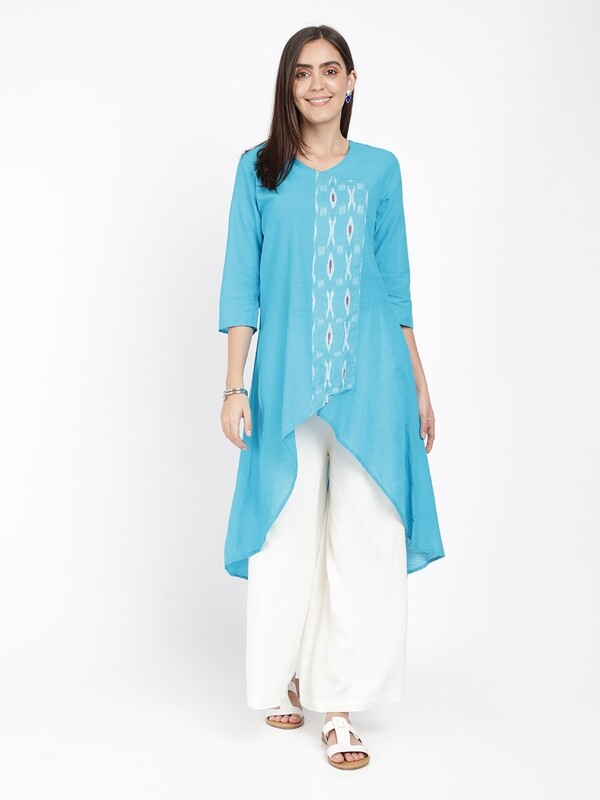 IndusDiva Mangalgiri Cotton And Ikat Kurta
