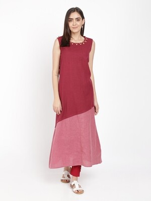 IndusDiva Khadi Original Maroon And Red Color Block Dress