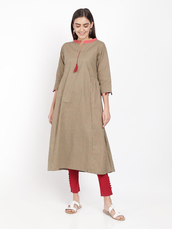 IndusDiva Khadi Original Multicolor A Line Kurta