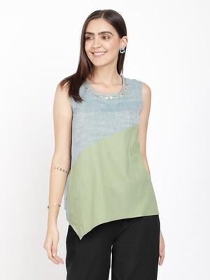 IndusDiva Green And Grey Khadi Original Top