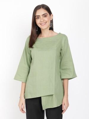 IndusDiva Green Khadi Original Fusion Top