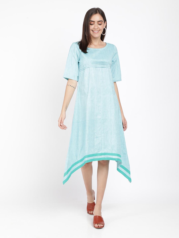 IndusDiva Khadi Original Blue Asymmetric Kurta Dress