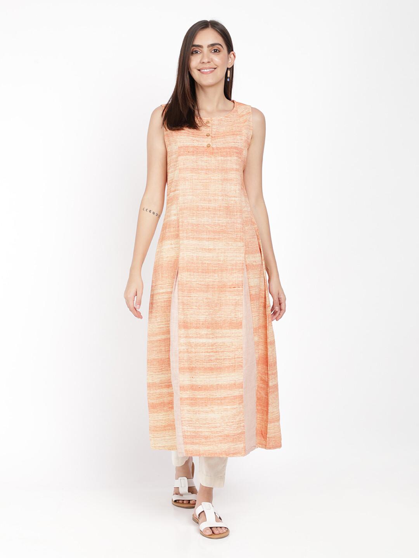 IndusDiva Khadi Original Peach Long Kurta