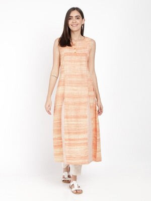 IndusDiva Khadi Original Peach Long Kurta