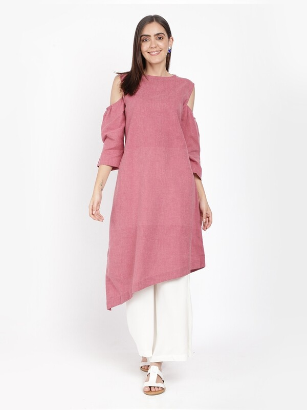 IndusDiva Khadi Original Pink Cold Shoulder Asymmetric Kurta Dress