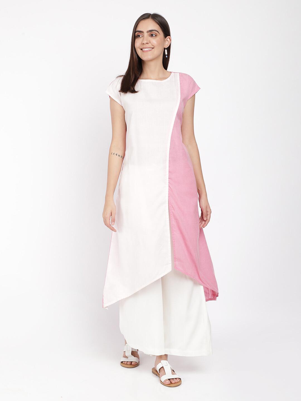 IndusDiva Khadi Off White And Pink a Line Panel Kurta