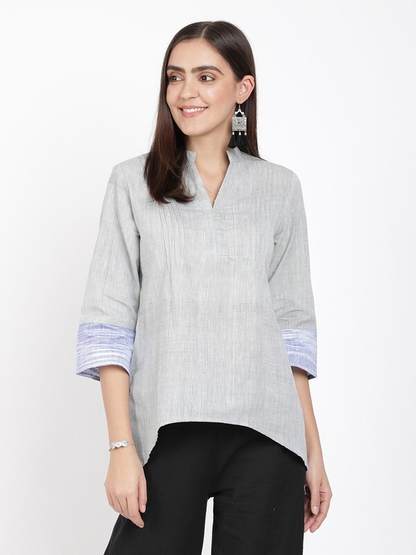 IndusDiva Khadi Originals Grey Mandarin Collar Khadi  Top