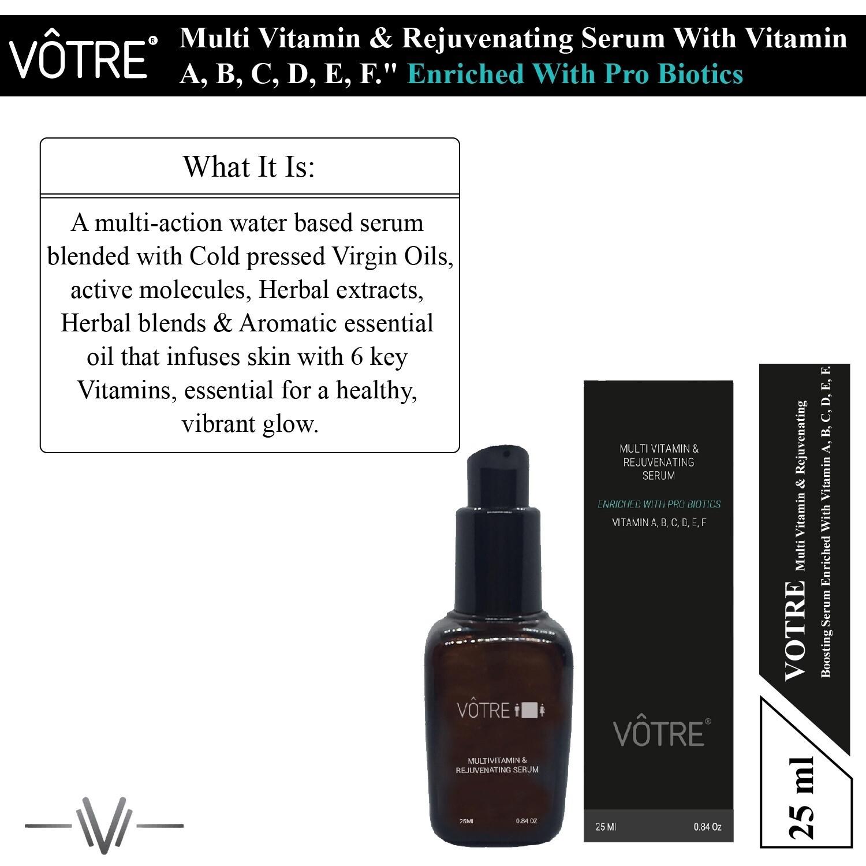 "Votre Multi Vitamin & Rejuvenating Serum ""enriched with pro biotics""   vitamin a, b, c, d, e, f."