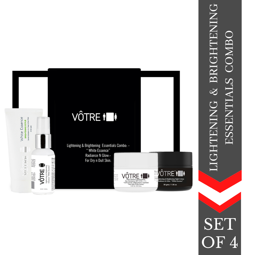 """VÔTRE Lightening & Brightening  Essentials Combo. """"white essence""""   radiance n glow :- for dry n dull skin"""