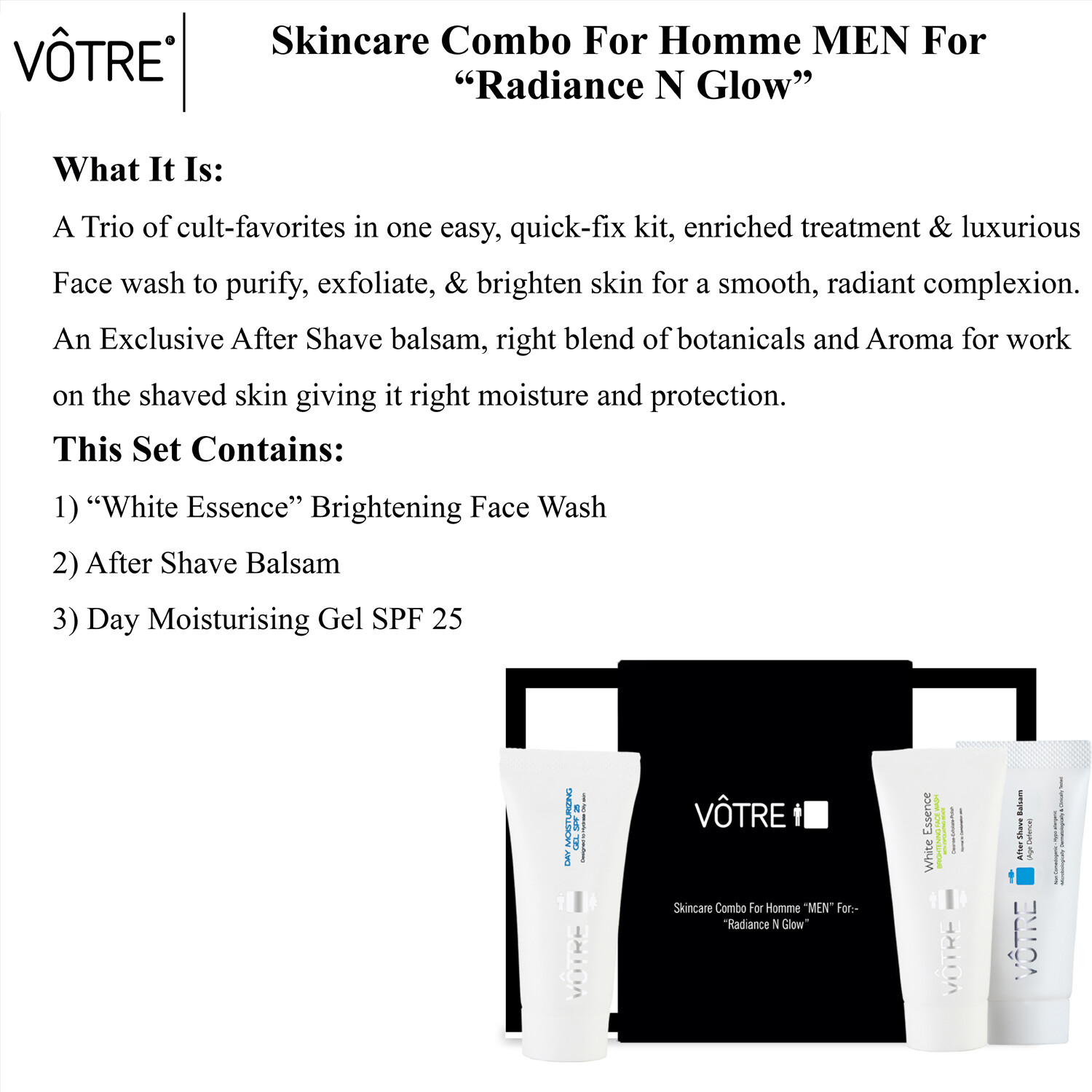 """VÔTRE Skincare combo for homme """" men """"  for:- radiance n glow"""