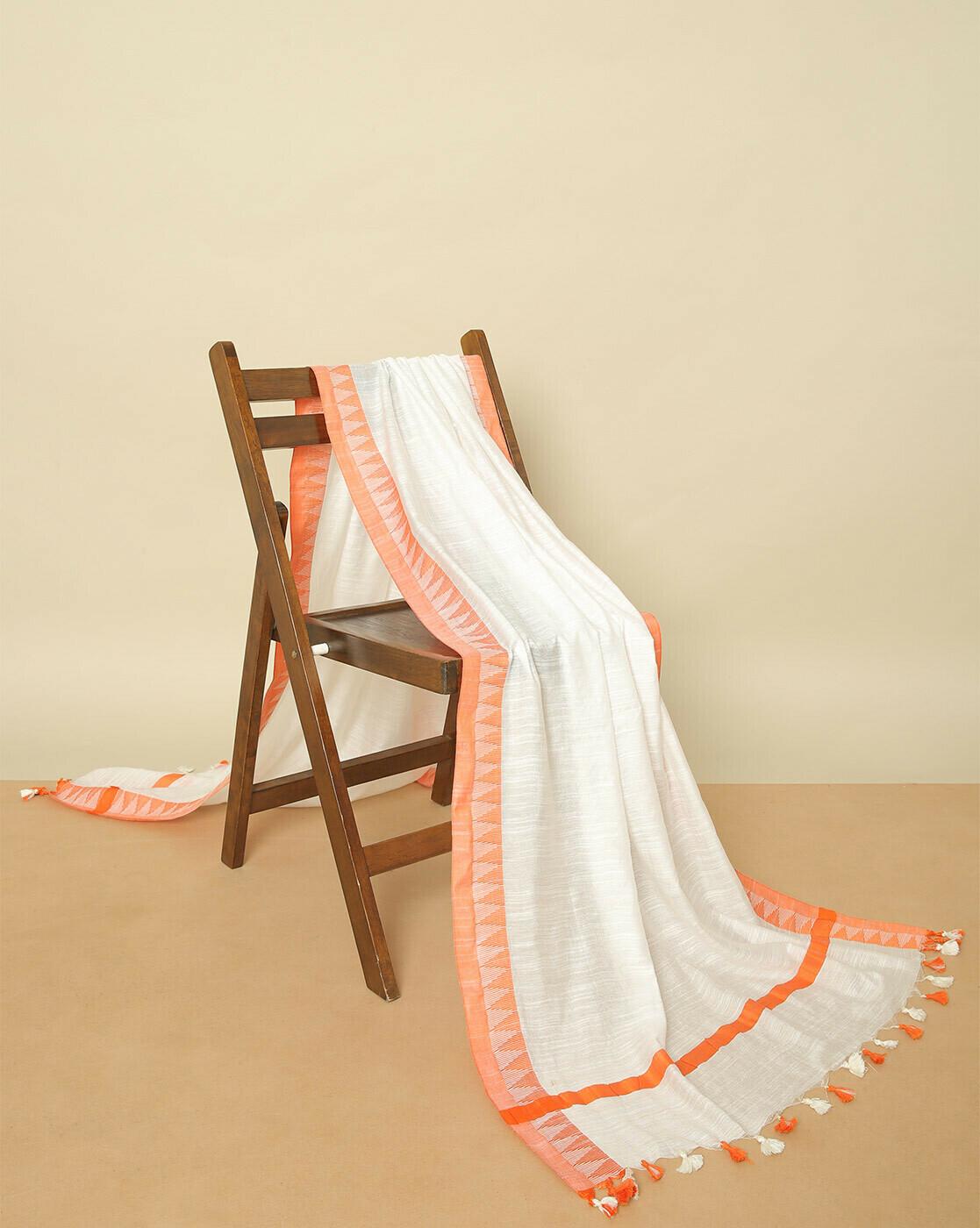 Deepika Govind Soft Cotton Stole with Ikkat borders