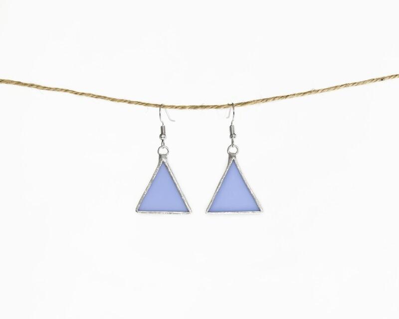 Light Blue Triangle Earrings