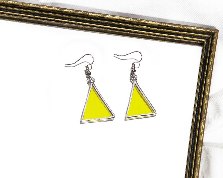 Yellow Triangle Earrings