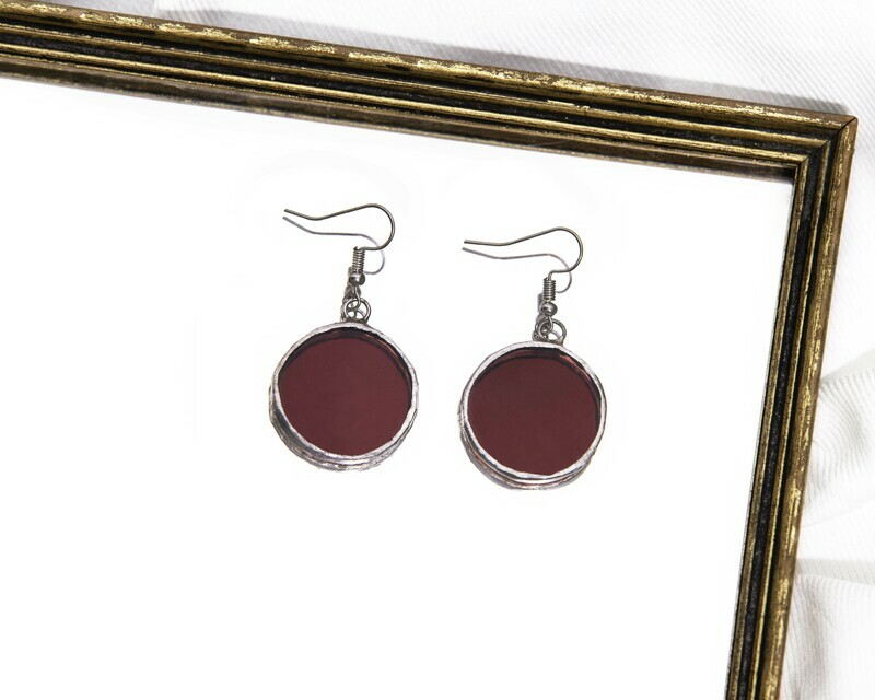 Purple Circle Earrings