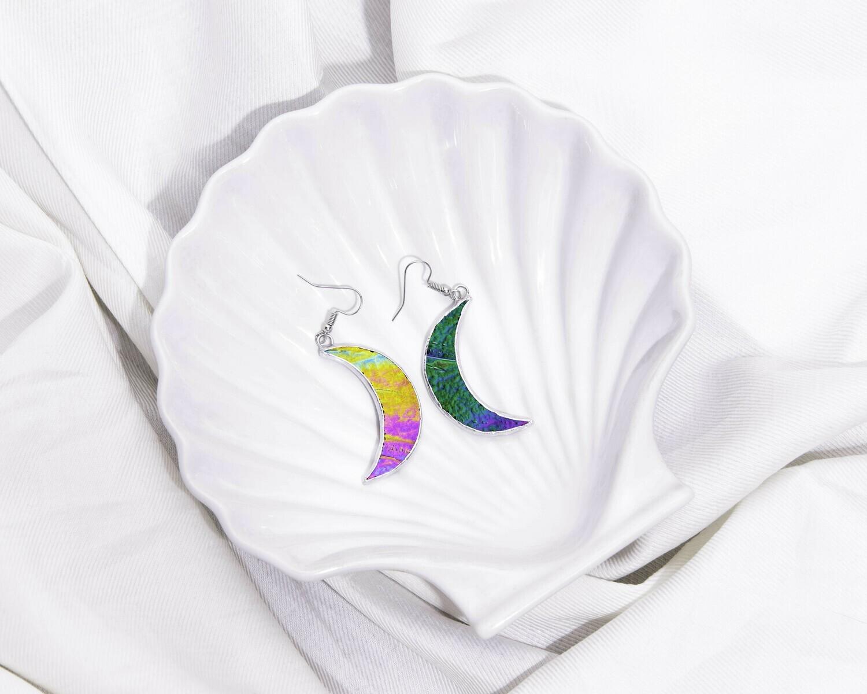 Crescent Moon Iridescent Earrings