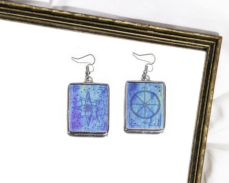 Star and Wheel Tarot Card Earrings