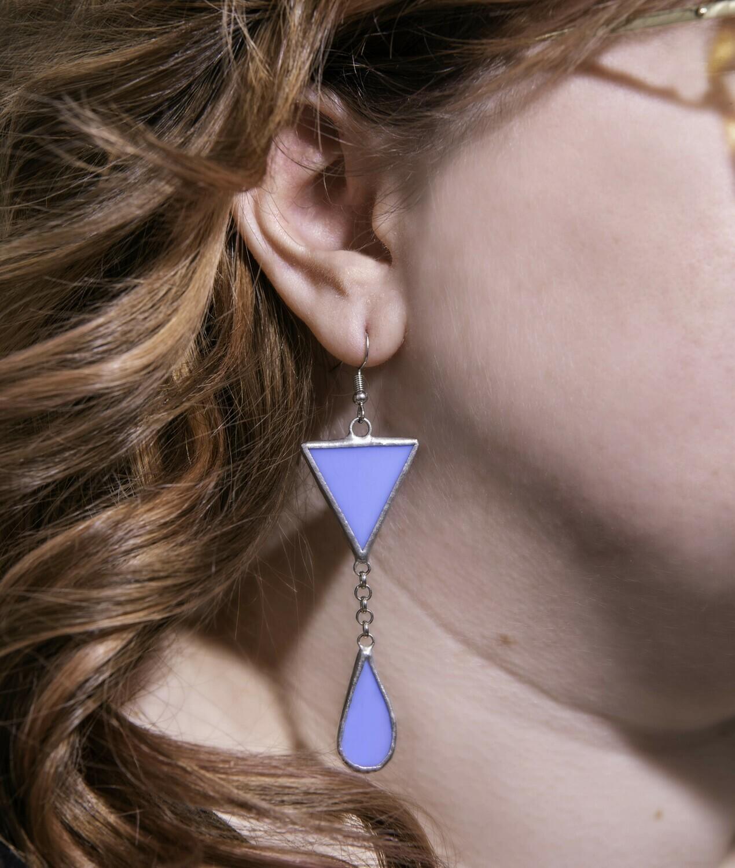 Light Blue Triangle+Teardrop Earrings