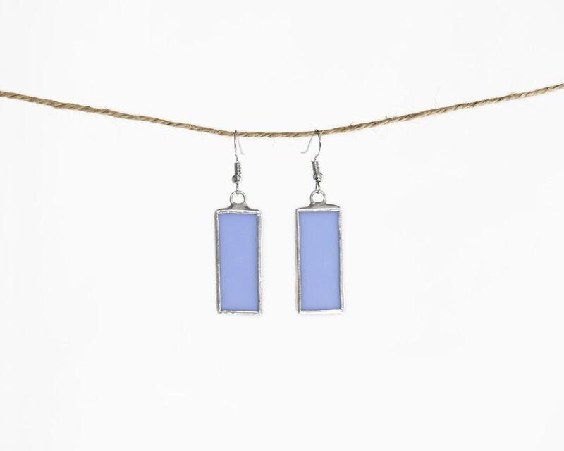 Light Blue Rectangle Earrings