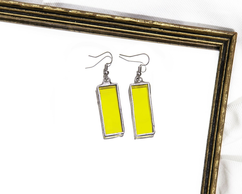 Yellow Rectangle Earrings