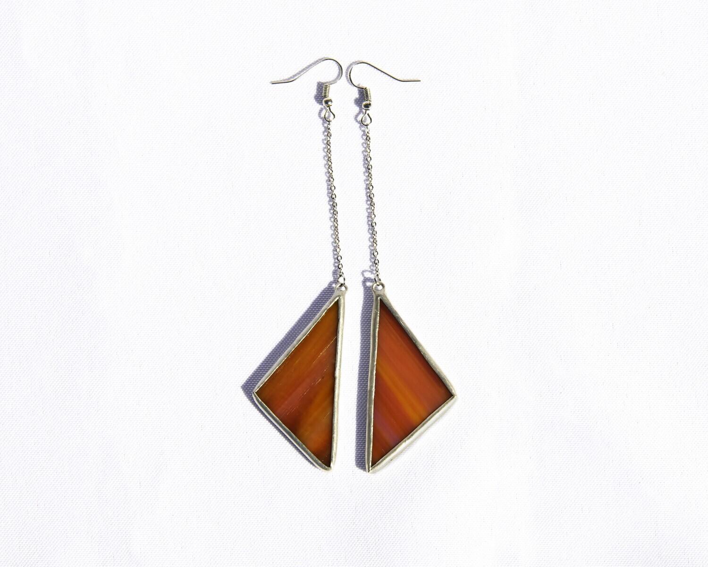 Orange Triangle Earrings
