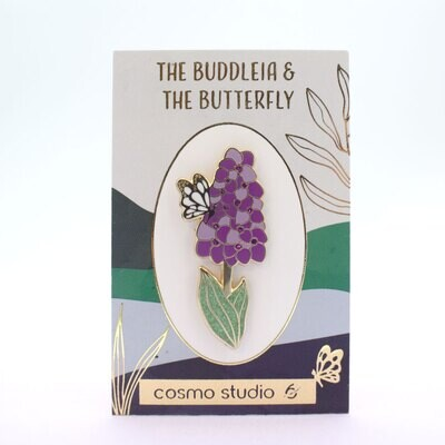 Buddleia and the Butterfly - Gold Enamel Pin