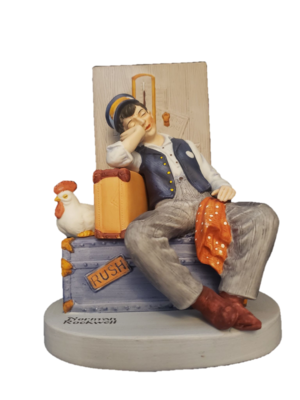 1980 Norman Rockwell Danbury Mint Porcelain Asleep on the Job Man Figurine
