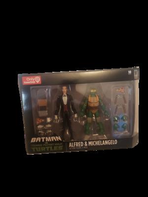 Batman vs Teenage Mutant Ninja Turtles Alfred And Michelangelo 2 Pack
