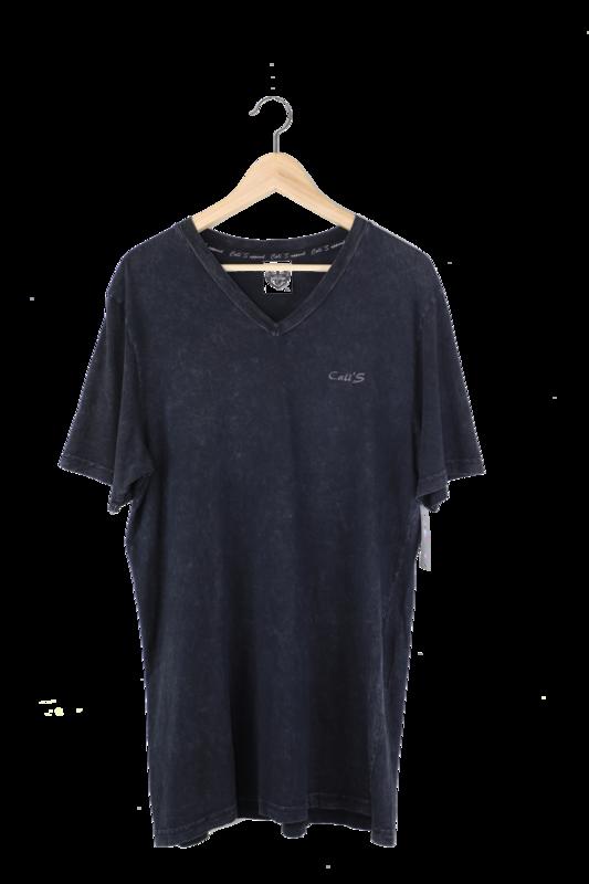 Cali's apparel Unisex Black Vneck Mineral Wash Tee