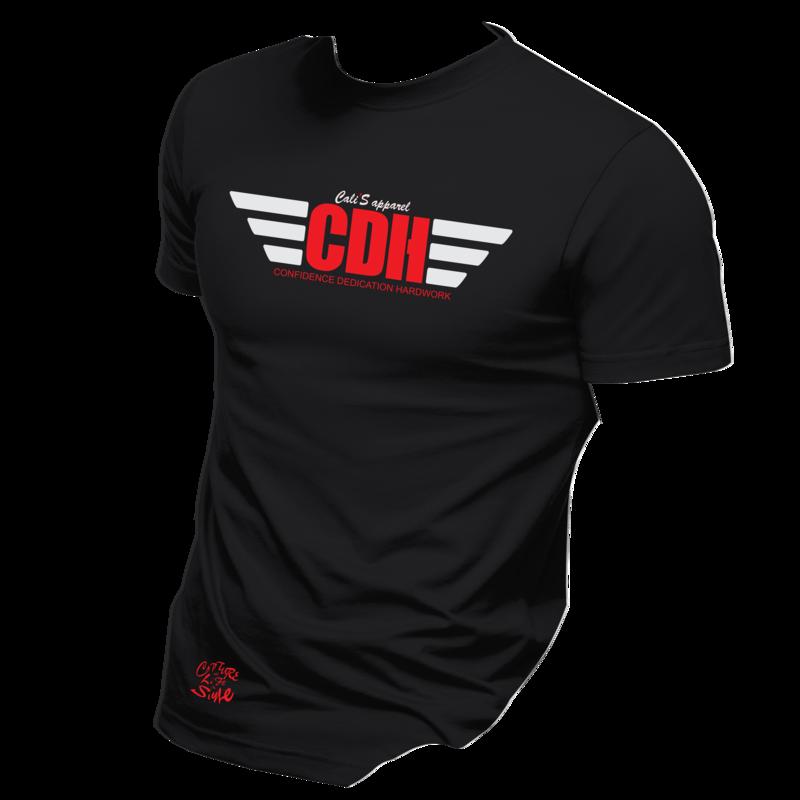 Cali's apparel Black Red-White CDH Unisex Crewneck Tee