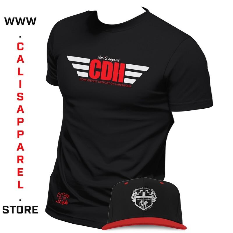 Cali's apparel Black Red-White CDH Unisex Crewneck Tee & Black/Red White Shield Logo Snapback Package