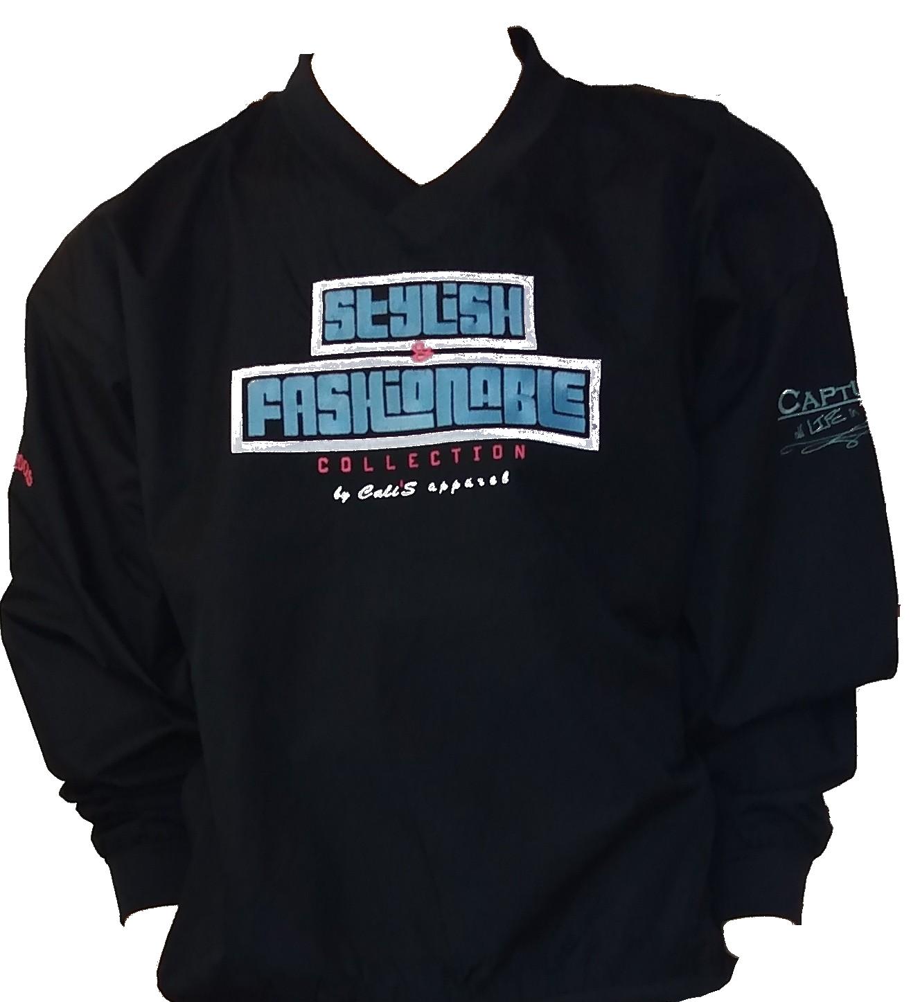 Cali's apparel Black S&F Unisex V Neck Pullover Windbreaker Jacket