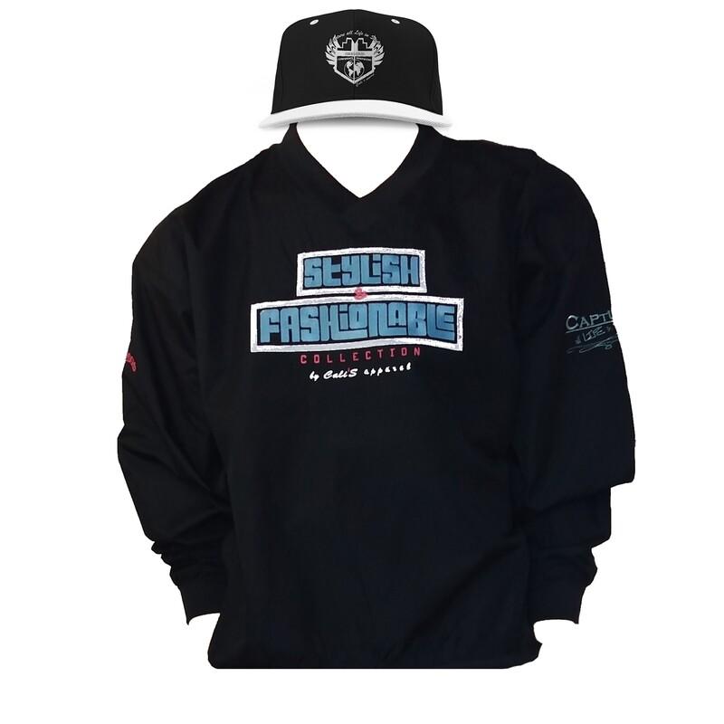 Cali's apparel Black S&F Unisex V Neck Pullover Windbreaker Jacket & Black/ White Brim Shield Logo Package