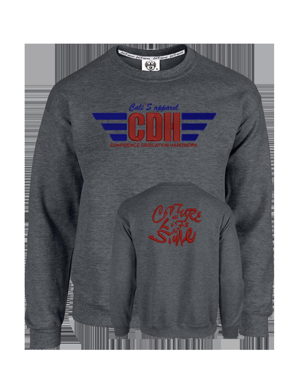 Grey Cali's apparel CDH Confidence/Dedication/Hardwork Wings Badge of Honor Unisex Crewneck Sweatshirt