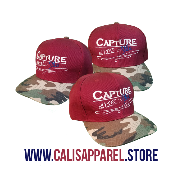 Cali's apparel Capture all Life in Style Signature Burgundy Camo Snapback