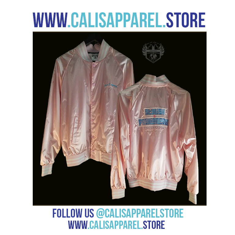 Cali's apparel STYLISH & FASHIONABLE Unisex Striped Trim Satin Baseball Jacket