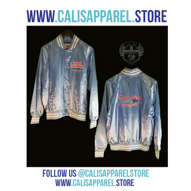 Cali's apparel STYLISH & FASHIONABLE Unisex Baby Blue / White Striped Trim Satin Baseball Jacket