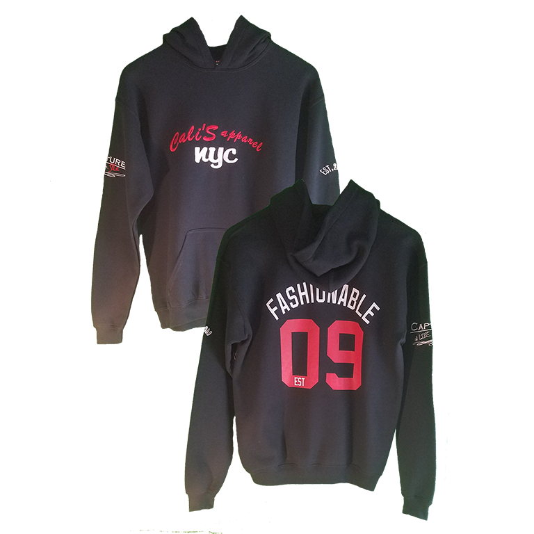 Cali's apparel NYC UNISEX FASHIONABLE EST 09 BLACK PULLOVER Hoodie