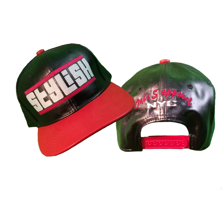 Cali's apparel STYLISH Faux Leather Snapback Black | Red